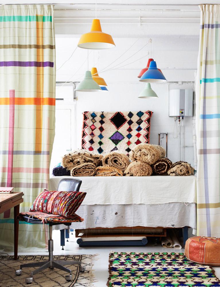 Kirsten Fribert, tekstil designer, værksted, marrokanske tæpper